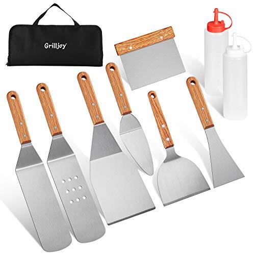 grilljoy 10pcs Grill Spatel Set - Rostfreies Grillzubehör- Rostfreies Spatel Werkzeug - Grillspatel Set - Perfektes Outdoor Grillbesteck Utensilien Set für Vatertag Weihnachten