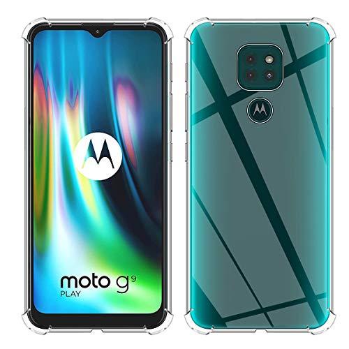 QULLOO Funda para Moto G9 Play Crysta Protección contra caídas tecnología de absorción de Impactos Cubierta Protectora de biseles levantados para Moto G9 Play
