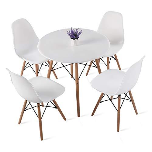 H.J WeDoo Ensembles de Meubles de Salle à Manger, Ronde Table de Salle à Manger en MDF avec 4 Moderne Scandinaves Blanc Chaises