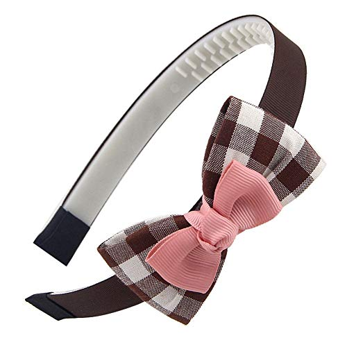 aimaoer Mode Kariert Mädchen Haarband Schmetterling Krawatte Kleines Mädchen Haar Karte Zahn Mädchen Stirnband Niedliche Kinder Haar Ornament, Kaffee GitterRosa