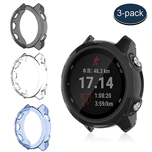 MWOOT 3 Fundas Silicona Compatible con Garmin Forerunner 245 Protección, Anti-caída Carcasas Protector para Proteger Reloj Garmin FR 245 Music Negro Azul Blanco