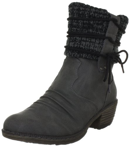 Rieker Damen 93791-42 Cowboy Stiefel, Grau (cenere/black-grey/42), 36 EU (3.5 Damen UK)