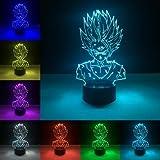 (Solo 1) luz nocturna 3D serie dragon ball Goku personaje de dibujos animados táctil remoto lámpara USB iluminación atmosférica tienda en casa escritorio decoración moderna
