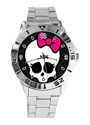 Modische Monster-High Customized Rectangle Custom Design Analog Armbanduhr Quarz Silber Zifferblatt Classic Stainless Steel Band Damen Herren Armbanduhr