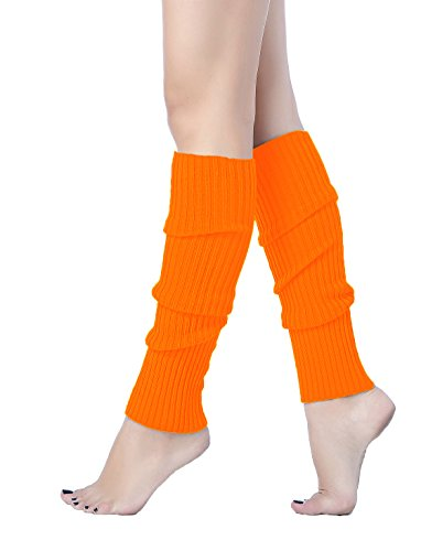 V28 Women Juniors 80s Eighty's Ribbed Leg Warmers for Party Sports (Orange)
