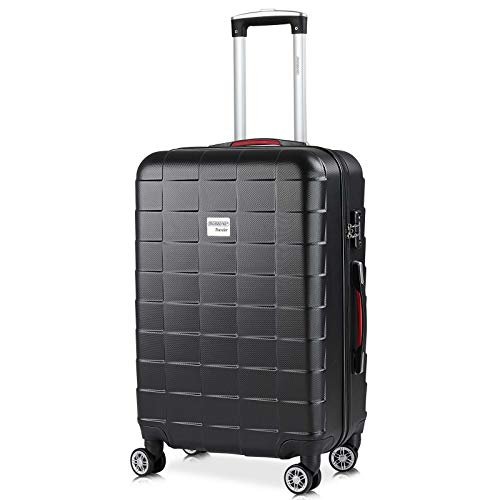 Monzana Hartschale Trolley Koffer   Größe L   TSA-Schloss   Zwillingsrollen   Schwarz   Reisekoffer Rollkoffer