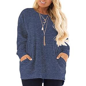 DOLNINE Women's Plus Size Sweatshirts Color Block Long Sleeve Pocket Shirts Tops