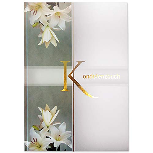 Kondolenzbuch Hardcover mit Lilien Motiv, stabiler Einband, mattes finish, Format:...