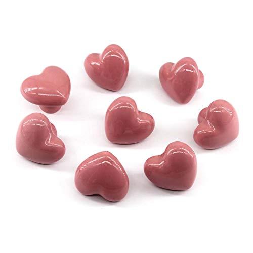 Rosa Manopola per cassetto Manopole per armadio in ceramica Maniglia per camera dei bambini Pull a forma di cuore per cassettiere Cassetto confezione da 8 (viti incluse)
