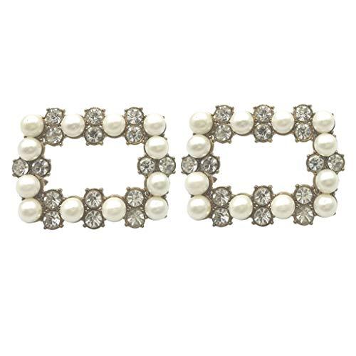 1 Par Hebillas de Zapatos de Novia Rectangular Broche con Diamantes Artificiales...