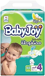 BabyJoy Compressed Diamond Pad, Size 4, Large, 10-18 kg, Mega Pack, 60 Diapers