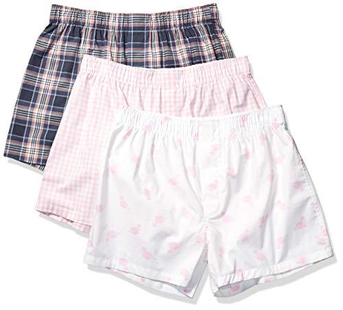 Amazon Brand - Goodthreads Men's 3-Pack Stretch Woven Boxer Shorts, Pink Flamingo, Medium