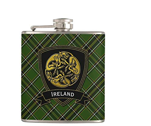 Flask for Liquor and Funnel,7 Oz Leak Proof Stainless Steel Pocket Hip Flask Irish Plaid Celtic Symbol,Great Gift Idea Flask