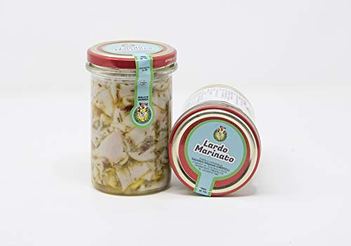 Lardo Marinato | vasetto da 0,19 kg | Lardo sott'olio extra vergine d'oliva | Prodotto tipico Toscano | Salumificio Artigianale Gombitelli - Toscana