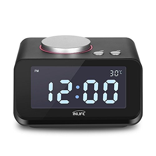 INLIFE Radio Wecker LCD Digital mit Snooze, Mini Wecker mit Charging Speacker und Thermometer Funktion