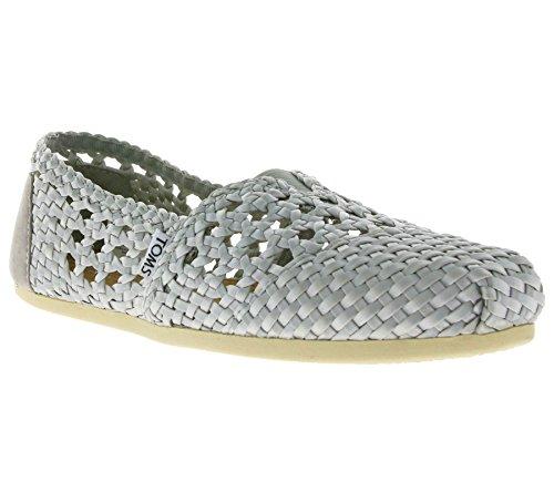 TOMS TOMS Classic Satin Woven Schuhe Damen Slipper Ballerina Silber 10004977, Größenauswahl:36.5