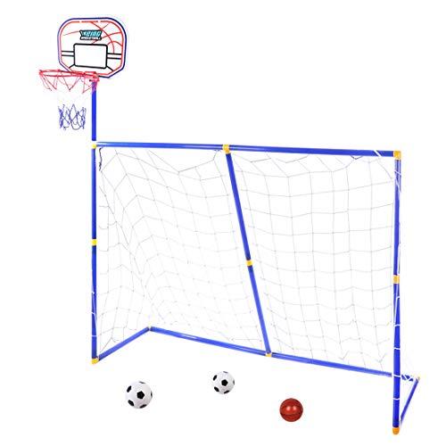 MRKE 3 EN 1 Canasta Baloncesto + Portería de fútbol para Niños Juguete Plegables con 2 Fútbol y 1 Baloncesto, 158*158*45.5cm