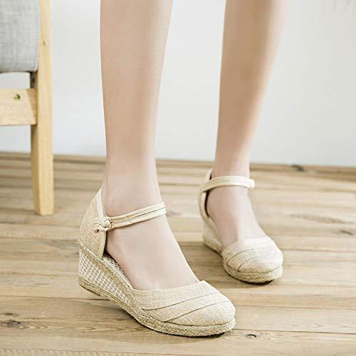 DQS Sandalias de Lino Lisas Hechas a Mano para Mujer, Alpargatas de cuña, Plataformas de 6 cm, Zapatos Bohemios para Mujer, Zapatos de Verano para Mujer
