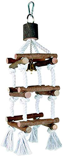 Bird Ladder Swing Chew Toy Parrot Perch Stand with Bell for Parakeet Cockatiel Lovebird Finch Canary Cockatoo Conure Budgie Cage Accessories