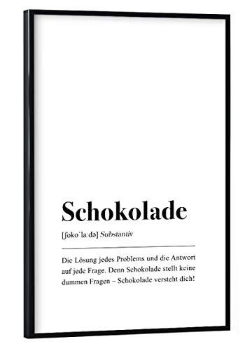 artboxONE Poster mit schwarzem Rahmen 45x30 cm Typografie Schokolade Definition (deutsch) - Bild Schokolade