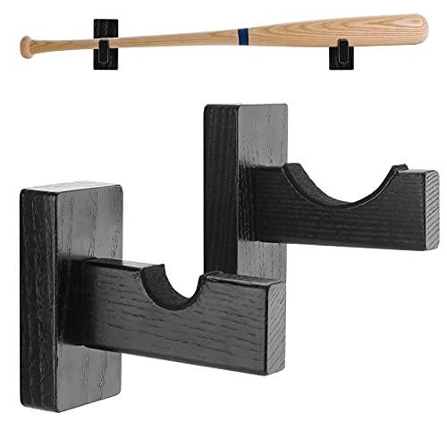 aienvh Baseball-Bat-Mount Wall Softball-Bar Display-Holder - Horizontal Baseball Bat Hanger Solid Wood Felt Liner Handmade Stand for Baseball Softball Hockey Stick Home Office Black