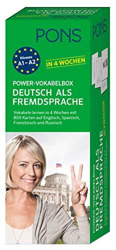 PONS Power-Vokabelbox: Deutsch als Fremdsprache in 4 Wochen - Wortzschatz lernen mit der bewährten Karteikarten-Methode. Mit 800 Vokabelkarten, 1.500 Beispielen & Wendungen und 100 Bildkarten.