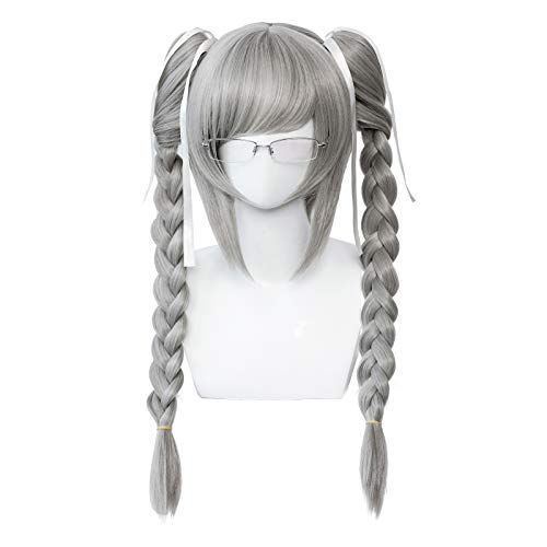 Alacos Braid Cosplay Wig Women Girl Short Sliver Clip-in Ponytail Cosplay Wigs with Bangs with Glasses for Girl Colorful Costume Wigs (Peko Pekoyama)