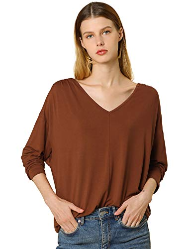 Allegra K Women's V Neck Top Batwing Sleeve Loose Casual T-Shirt Brown 16