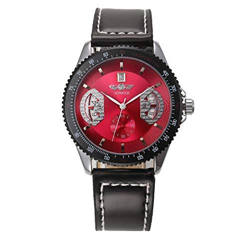 Smartwatches,Automatische Mechanische Mechanische Armbanduhr Aus Echtem Lederarmband Freizeitmode Monatliche Uhr Gules