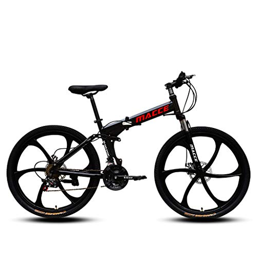 Faltbares Sport Mountainbike, 26 Zoll Klappräder Rennräder Variable Geschwindigkeit Doppelt Scheibenbremse, Vollgefedertes Faltrad aus Kohlenstoffstahl für Männer Frauen Jungen Mädchen (Schwarz)