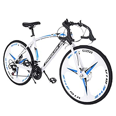 700c Road Bike Bicycles Men Adult 21-Speed Double Disc Brake Lightweight High Carbon Steel Frame Racing Bikes