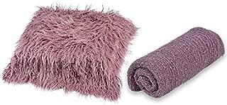 SODIAL 60 x 50cm Newborn Baby Baby Photography Blanket Wool Carpet Blanket Plush Photography Background Props Basket Filling Filler 150 x 40cm Baby Wrap Purple