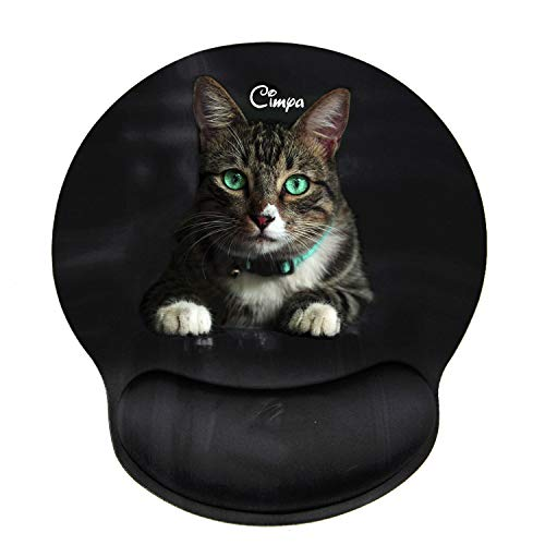 Ergonomic Mouse Pad with Wrist Support Black Mouse Pad Cute Mouse pad for Women Mini Mouse Pad Carpal Tunnel Mouse Pad Round Mouse Pad Anime Mouse Pad Cat Mouse Pad for Gaming Working Pain Relief