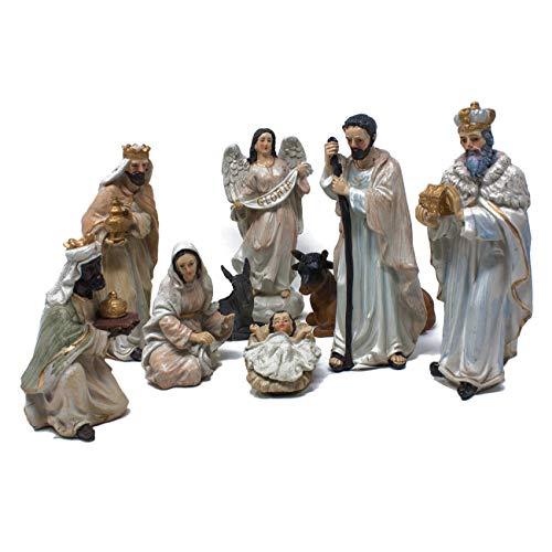 Joy Christmas Natività in Resina Bianca Completa da 14,5 cm Set 9 Pezzi per Presepe - 50863