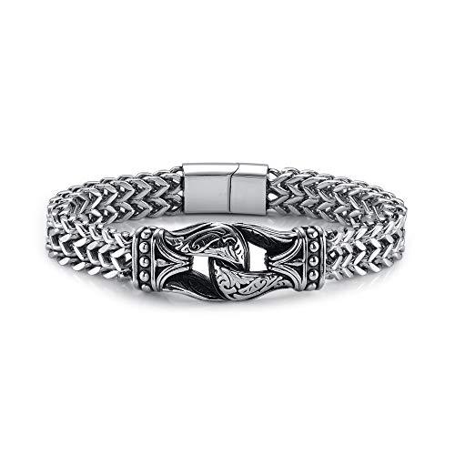 Zysta Herren Armband Keltischer Knoten Unendlichkeitszeichen Armband Edelstahl Panzerkette Armband Cuban Link Wikinger Gotik Biker Armreif für Männer Papa