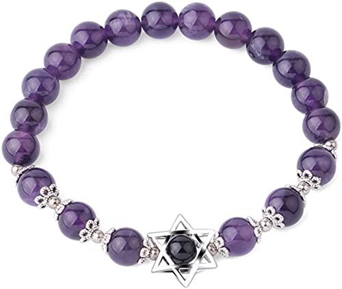 Pulsera de la riqueza Feng Shui Hexagrama de piedra natural encantos pulseras estrella de David 8mm Pulsera de cuentas de gema para mujeres hombres Puede traer suerte y prosperidad ( Size : Amethyst )