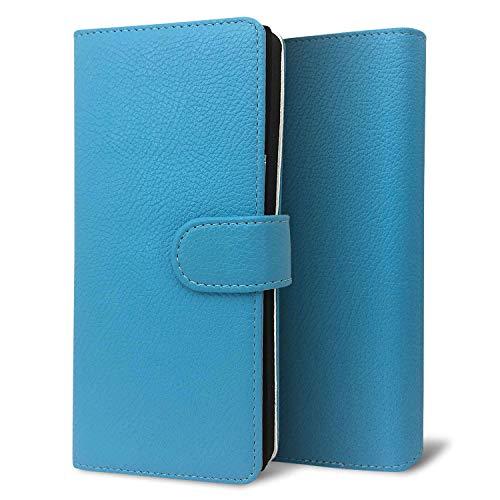 改良進化版 プルームテック プラス ケース Ploom TECH + 賢者の箱+ まとめて収納 コンパクト手帳型 ライチ柄 新型 ブルー