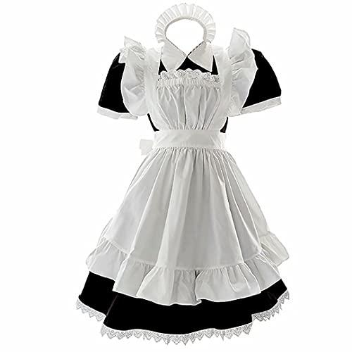 Maid Anime Conjunto de Disfraces de Cosplay Falda Larga con Delantal Tocado Vestido clásico de Uniforme de sirvienta Lindo Lolita Disfraz de Cosplay de sirvienta Disfraz de Halloween Traje de