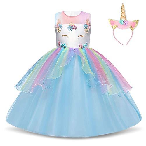 TTYAOVO Mädchen Einhorn Phantasie Prinzessin Kleid Kinder Blume Pageant Party Kleid Ärmellose Rüschen Kleider,Star-blau,3-4 Jahre (Etikette 110)