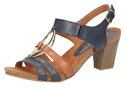 CAPRICE 28308-22 Damen Sandaletten,Sandaletten,Sommerschuhe,offene Absatzschuhe,hoher Absatz,feminin,(838) Ocean/Cognac,38.5 EU / 5.5 UK