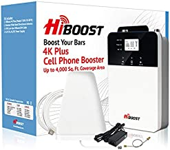 HiBoost Cell Phone Boosters for Home and Office with Built-in Antenna - Signal Boosters Up to 1,000~4,000 sq ft - LCD and App Control, All US Carriers, Boosts Voice and Data Signal for Remote Area