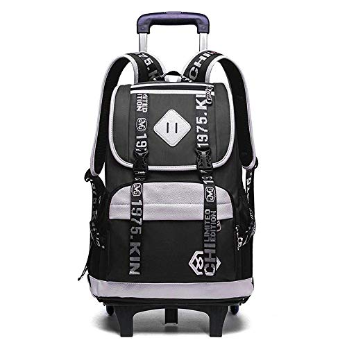 Kids Backpack Trolley Bag School Backpack Kids Travelling Bags with Removable Wheeled Trolley Hand for Pupils Trolley Bag Jialele (Color : Black, Size : 2 Wheels)