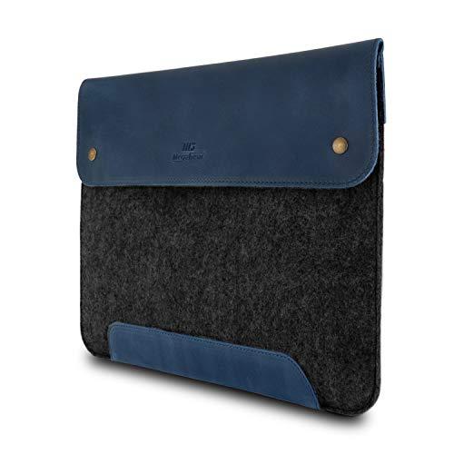 MegaGear Laptop, Ultrabook und MacBook Tasche aus Echtleder und Fleece 13.3 Zoll - Blau