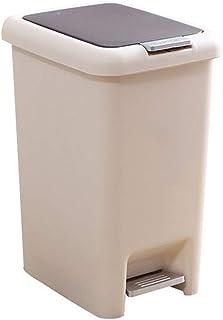 プッシュ式 & ペダルペール キッチン フタ付きゴミ箱 袋止め付 密閉 衛生 ダストボックス 生ゴミバケツ プラスチックバケット スリム キッチン トイレ バスルーム ベッドルーム オフィス ベージュ 20*27*30CM 1217