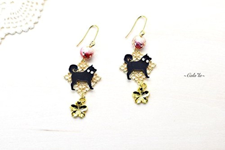 春金桜 赤唐草と柴犬のゴールドピアス ハンドメイド おしゃれ 犬 柴犬 グッズ 日本製 ピアス