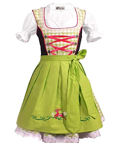 Kiddy Tracht Trachtenkleid 3tlg. Kinder Dirndl Mädchen Kleid, 92, Grün Weis Kariert