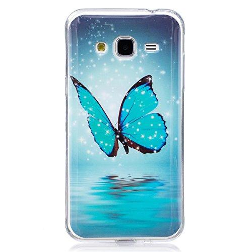 ISAKEN Compatibile con Samsung Galaxy Grand Prime G530 Custodia - Agganciabilee Luminosa Cover con Lampeggiante Ultra Sottile Morbido TPU Cover Rigida Gel Silicone Custodia - Glitter Farfalle