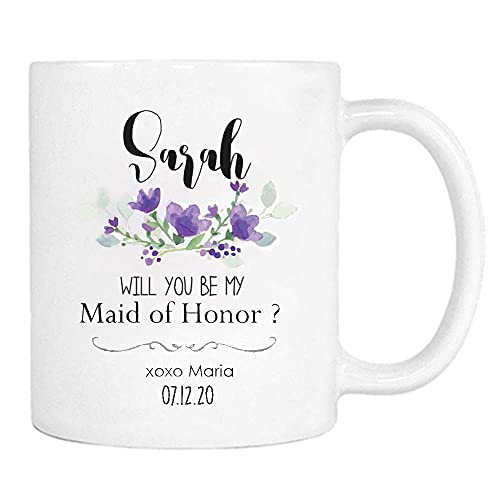 NA Personalizado serás mi Taza de Dama de Honor, Regalo de Hermana de Dama de Honor-Taza de café