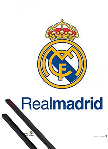 1art1 Fútbol Póster (91x61 cm) Real Madrid, Logo Y 1 Lote De 2 Varillas Negras