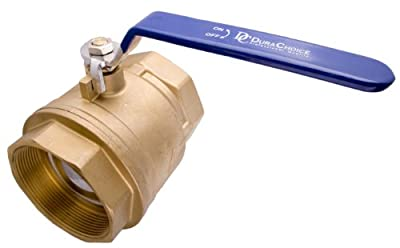 "4"" Brass Ball Valve - Full Port 600WOG for Water, Oil, and Gas with Blue Handle by DuraChoice"
